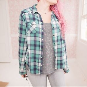 White and Teal Soft Flannel